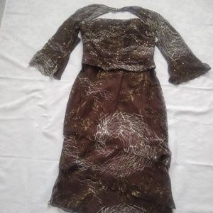 Dresses & Skirts - Silk beaded sequins dress with removable sleeves